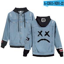 Del todo-fósforo de Mix-Up Lil Peep llorar bebé chaqueta de Denim Xxxtentacion venganza Denim con capucha chaqueta de los hombres/mujeres sudaderas con capucha sudadera otoño(China)