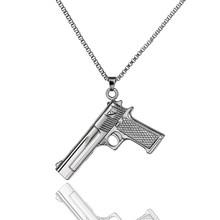 ส่วนบุคคล UZI ปืนจี้สร้อยคอจี้คริสตัลยาวปืนพกปืนสร้อยคอผู้หญิงผู้ชาย Unisex Hiphop (China)