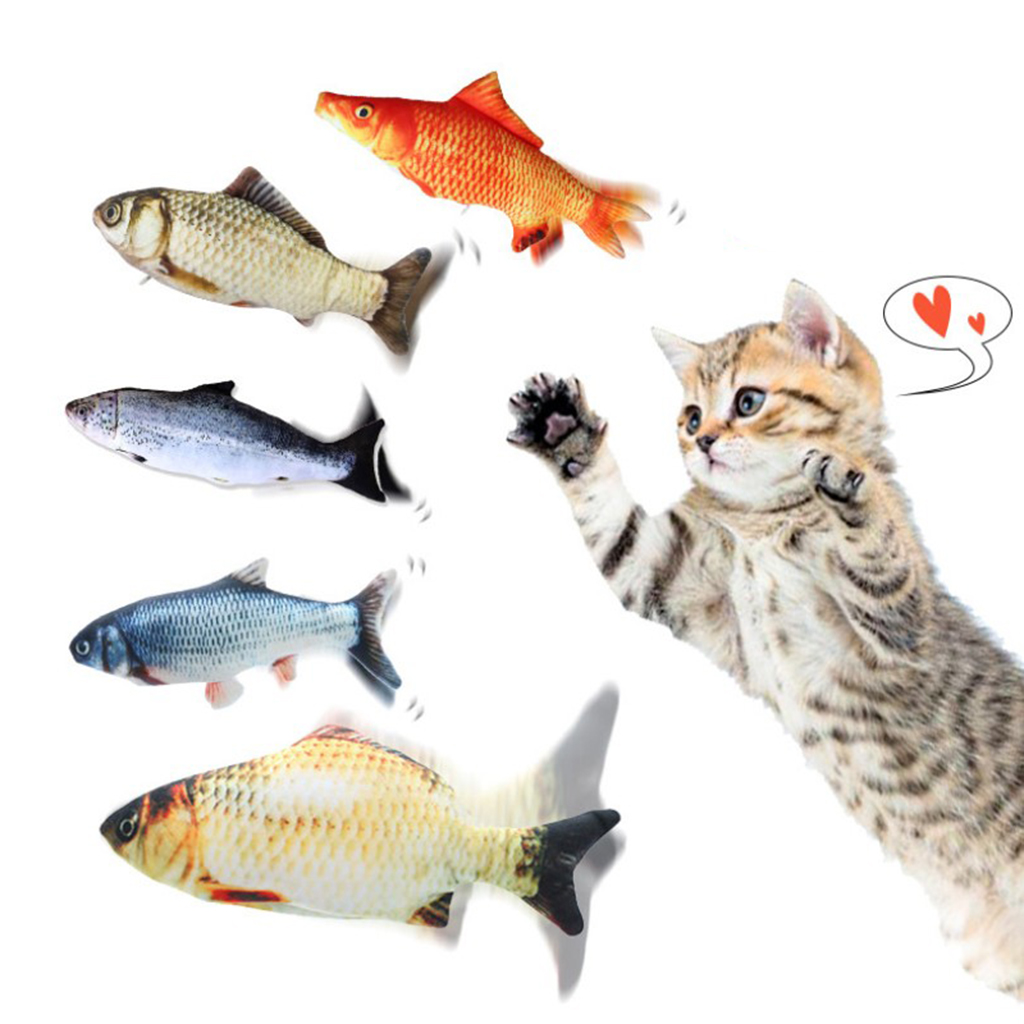 Electric Dancing Fish Kicker Cat Toy Wagging Flipping Realistic Moving