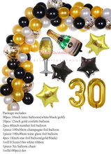 Ouro preto véspera de ano novo festa papel foto quadro 30th feliz aniversário decorações adulto 30 número da folha balões photobooth adereços(China)