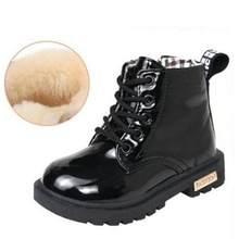 Çocuk ayakkabı lastik çizmeler çocuk Patent deri Botas erkek kız su geçirmez peluş kar botları yürümeye başlayan ayakkabı botları(China)