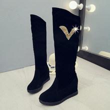 Kadın Diz Yüksek Çizmeler Kadın Sonbahar Takozlar Topuklu Bayanlar Platformu Yumuşak Süet Kayma kadın Moda Streç Konfor kadın ayakkabısı(China)