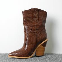 Weiß Beige Schwarz Gelb Faux Leder Cowboy Stiefeletten für Frauen Keil High Heel Stiefel Schlange Drucken Westlichen Cowgirl Stiefel 2019(China)