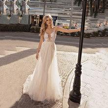 Новые пляжные свадебные платья с v-образным вырезом, сексуальные кружевные свадебные платья с открытой спиной, богемные свадебные платья, ...(China)