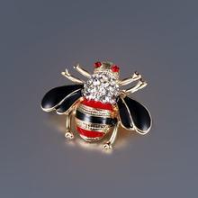Pabrik Penjualan Langsung Hitam atau Merah Sayap Enamel dan Kristal Berlian Imitasi Serangga Lebah Bros Kerah Pin untuk Wanita atau Pria(China)