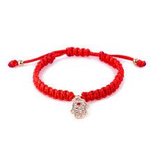 Hot Sorte Cruz de Ouro Pulseira de Coração Para As Mulheres Crianças Corda Vermelha Ajustável Pulseira Artesanal Jóias DIY(China)