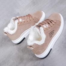 Giày Bốt nữ Mùa Đông Giày Nhung Vải Cotton Nữ Plaform Ủng Phối Ren Nữ Màu Đen Bota Feminina 35 -40(China)