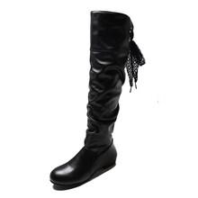 Wanita Sepatu Bot Musim Dingin 2019 Fashion Punk Baru Boots Coklat Tebal dengan Hitam Kulit Buatan Lipatan Ukuran Besar 43 Sepatu wanita(China)