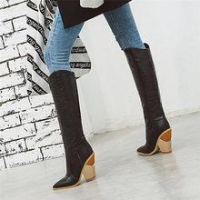 Odetina Yeni Kadın Timsah Derisi Kalın Tıknaz Garip Yüksek Topuk Batı Kovboy Diz Yüksek Çizmeler Üzerinde Çekin Sivri burun Kış ayakkabı(China)