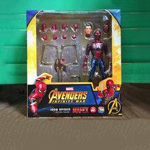 15 centímetros Avengers super hero Spider Man figura de Ação DO PVC brinquedos homem de ferro homem Aranha Joint movable figura Collectible modelo brinquedos presente(China)