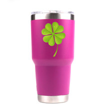 Большая зеленая кружка с двойными стенками из нержавеющей стали, бутылка для воды, автомобильная чашка с зеленым цветком, кружка с логотипо...(Китай)