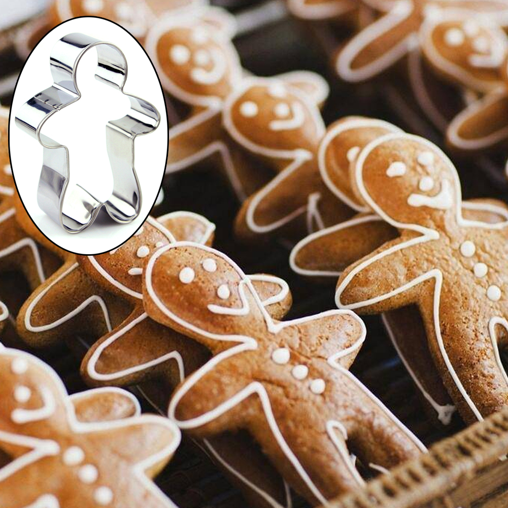 US 3Pcs Christmas Gift Gingerbread Man Baking Mold Cutter Cookie Stainless Steel