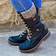 Frauen mid-kalb Stiefel gladiator chunky low heels winter schnee warme schuhe Booties vintage PU leder spitze up Schuh botas mujer H117(China)