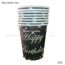 Ouro rosa feliz aniversário placas de papel copos guardanapos rosa ouro espumante 18 30 40 50 aniversário decorações adultos suprimentos(China)