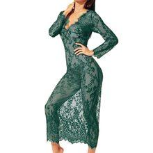 TELOTUNY S-3XL seksi kadın iç çamaşırı uzun elbise gecelikler bayanlar dantel pijama kıyafeti pijama takım elbise kadın uzun gecelik L212(China)