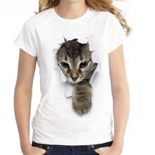 Vrouwen Zomer 3D Gedrukt Kat T-Shirts Mooie Cartoon Leuke Tops Tees Casual Korte Mouw Harajuku Kawaii Shirts O Neck Tee shirts(China)