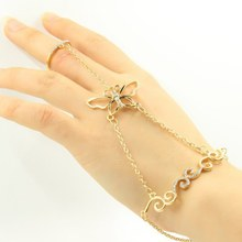Fashion Crystal Butterfly Design Slave Chain Link Finger Ring Hand Harness Gold Silver Bracelet Fashion Women Gift New(China)