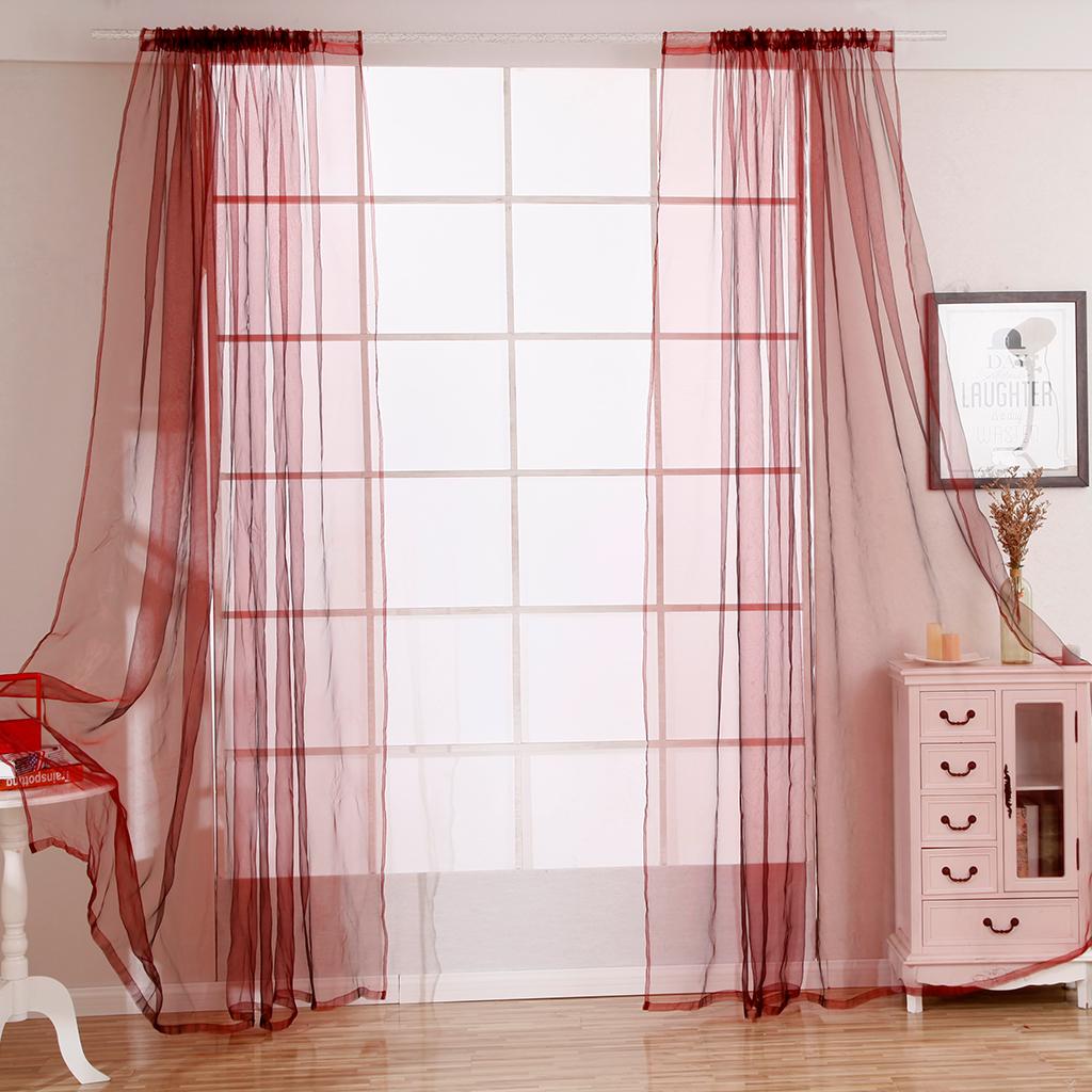 Curtain Sheer Door Window Voile Valance Drape Kitchen Curtain Sheer Door Window Curtain Window Blind for Balcony Bathroom