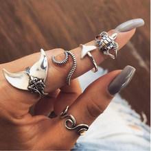 20 phong cách Nữ Bohemian Vintage Vương Miện Sóng Hoa Trái Tim Sen Sao Lá Pha Lê Opal Khớp Nhẫn Trang Nhẫn b(China)