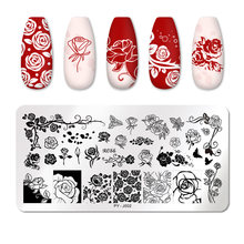 Pict U Bloem Nail Stempelen Platen Blad Stempel Sjablonen Geometrische Printing Diy Ontwerp Stencil Gereedschap Nail Art Image Plate(China)