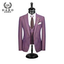 DARO, новинка 2020, мужской костюм, 3 предмета, модный клетчатый костюм, приталенный, синий, фиолетовый, свадебный костюм, блейзер, брюки и жилет, ...(China)