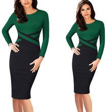 Vfemage женское винтажное элегантное платье с цветными блоками контрастного цвета в стиле пэчворк, одежда для работы, vestidos, деловые, вечерние, о...(China)
