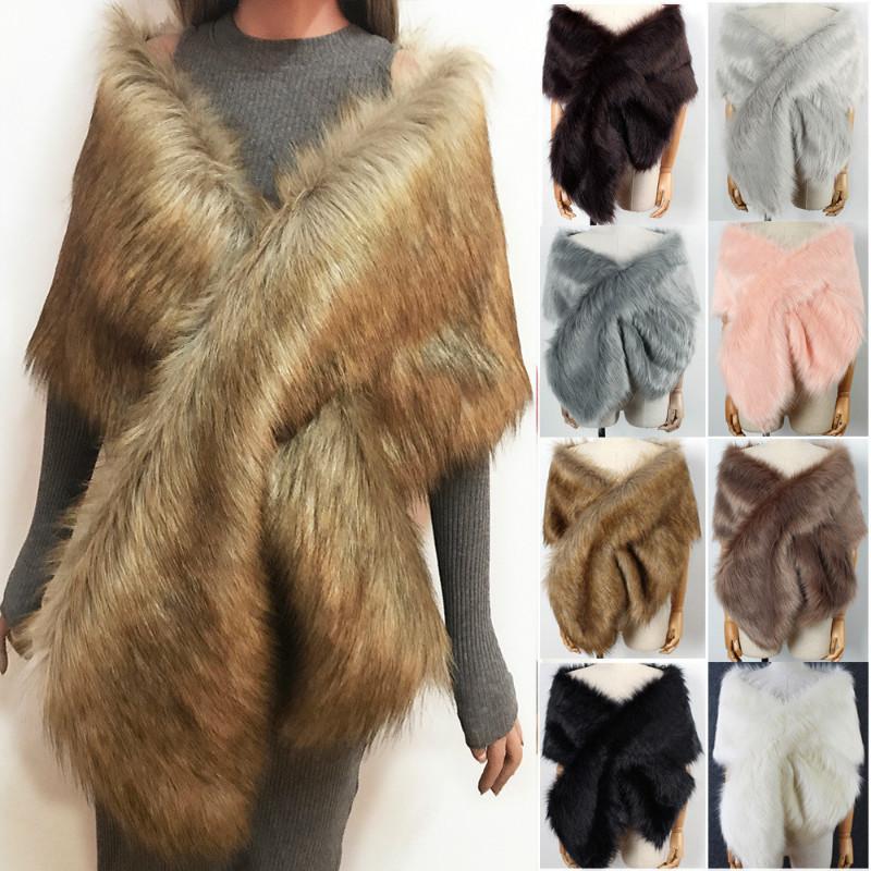 The autumn and winter new imitation fur big cape neck scarf multi-color joker scarf bride dress cross cape (1)