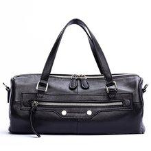 GIONAR Luxe High-end Zacht Echt Koe Lederen Barrel Bag Designer Handtas voor Vrouwen Zwart Crossbody Top Handvat Baguette tas(China)