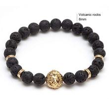 Bangles Viking Korean Retro Charm Bracelet for Women Men Natural Lava Stone Bead Gold Bracelet Accessorie Korean Indian Jewelry(China)