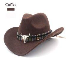 חורף גברים & נשים \ של צמר מוצק כובעי ציד כובעי מערבי קאובוי כובע מערבי סוס רכיבה רחב שוליים קאובוי כובע(China)