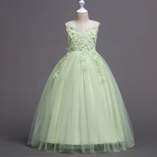 זה YiiYa פרח ילדה שמלה עבור בנות אלגנטי בורגונדי ורוד ירוק לבן ילדים מסיבת חתונת שמלות ארוך הקודש שמלות 832(China)