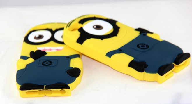 New arrival Fashional cute cartoon model silicon material Despicable Me Yellow Minion Cover for iphone Case for iphone 4 4S P002