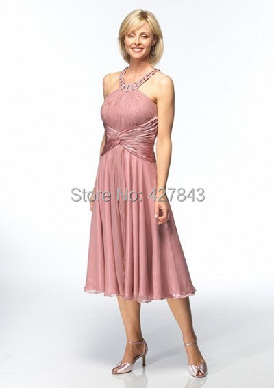 1-Customized Halter Beadings Chiffon Short Tea Length Mother of The Bride Dress Rose Petal Mother Dress for Wedding