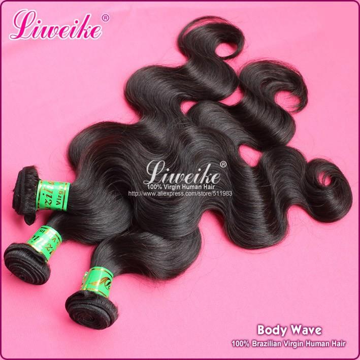 1pcs lot virgin brazilian hair extension liweike hair products 12′-32′ good quality DHL free shipping