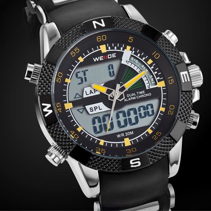 WEIDE Brand Men LED Digital Sports Wristwatches Analog-digital Display Alarm Auto Date Repeater Design 3ATM