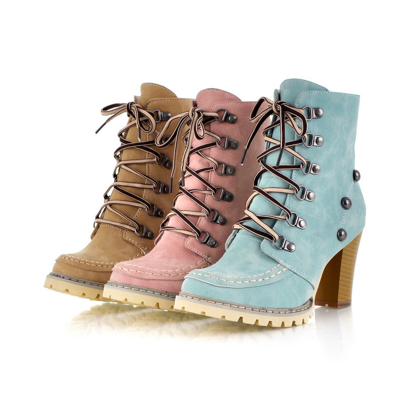 2014 Fashion Rivet Leather Buckle Strap Thick Heel Boots Restore