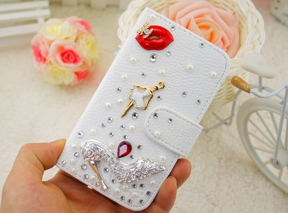 Bing Red Lips Dancing Girl High Heel Embossed White PU Leather Case Cover for iPhone 5 6 7 for Samsung Phone Case