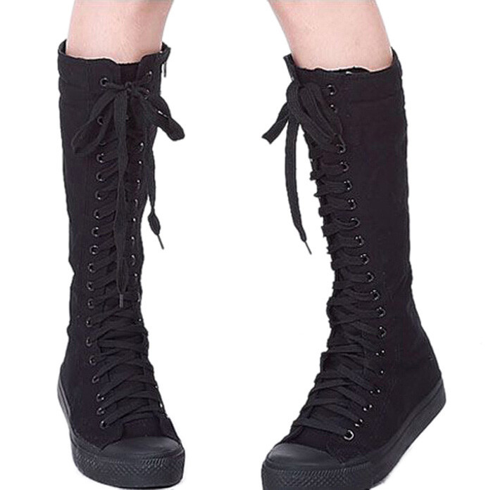 New style on list fashion Womens Canvas Lace Up Knee High Boots Sneakers Flat Casual Tall Punk Shoes free shipping W001