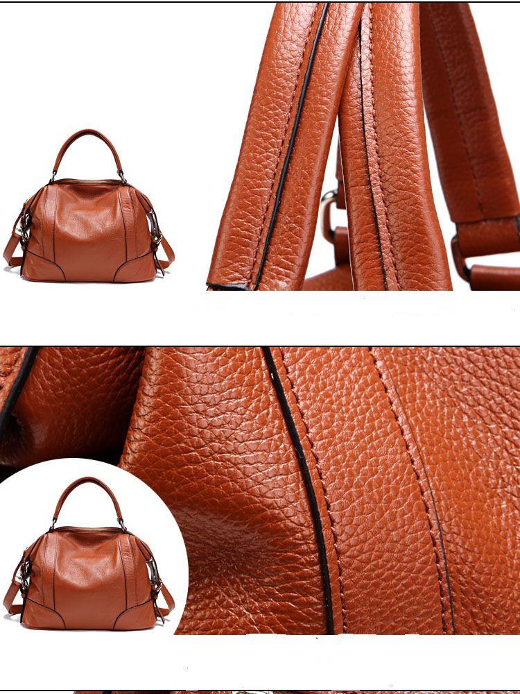 New 2015 Fashion Brand Genuine Leather Bag Solid Women Shoulder Bag