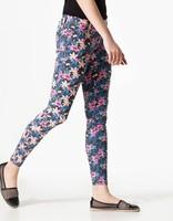 женщины тощие карандаш Пант цветок печати новые летние осенние брюки & Капри Брюки для женщин плюс размер 2982