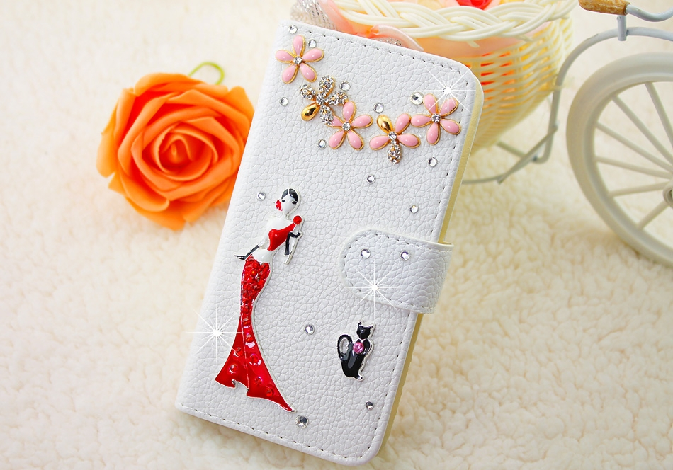 Elegent Red Dress Girl White Embossed PU  Leather Case Cover for iPhone 5 6 7 for Samsung Phone Case