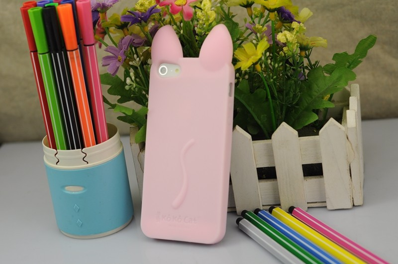 New Hot 3D KOKO Cute Ear Cat Soft Silicone Cover For Apple iPhone 4 4S phone cases Ear can Open the screen