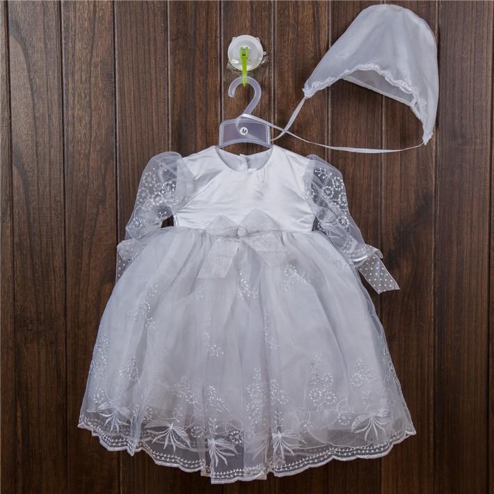 Скидки на 2016 Новорожденный Вышивка Формальный крещение платья с шляпы, белое марочное крещение платье 0690