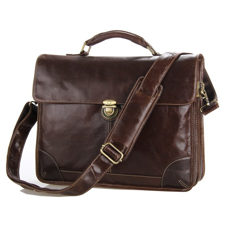 2013 New Classic Vintage Leather Men's Chocolate Briefcase Laptop Bag