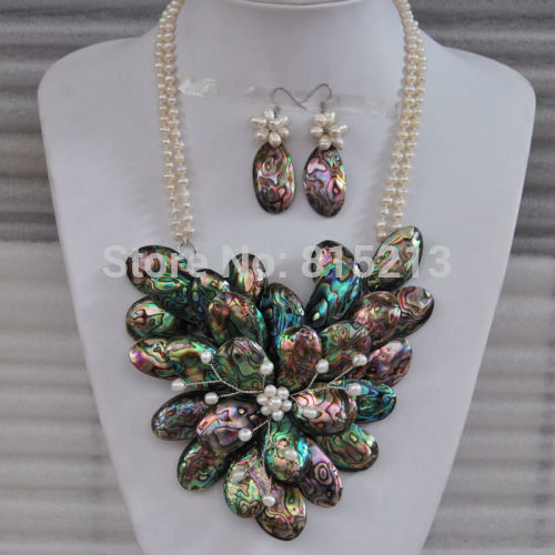 ddh00938 Abalone shell pearl flower pendant earrings beaded necklace set<br><br>Aliexpress