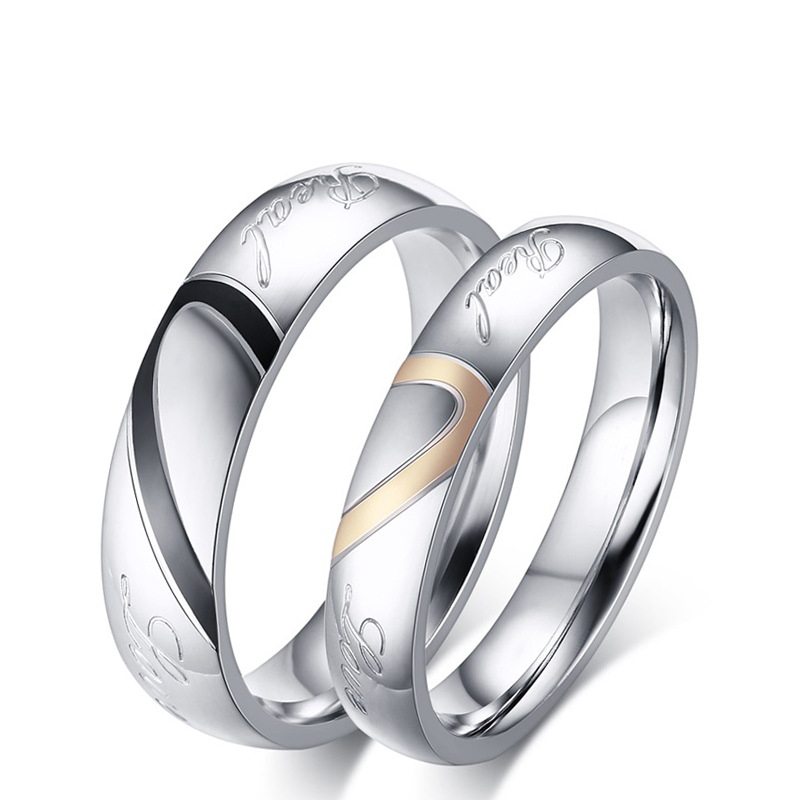 Titanium Steel Wedding Lovers Rings His And Her Wedding Rings Sets For Women Men Silvery Love Couple Rings Beautiful Design ring(China (Mainland))