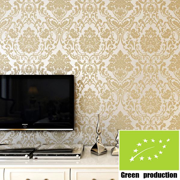 Modern european gold wallpaper for walls 3d flock printing for 3d wallpaper for bedroom walls