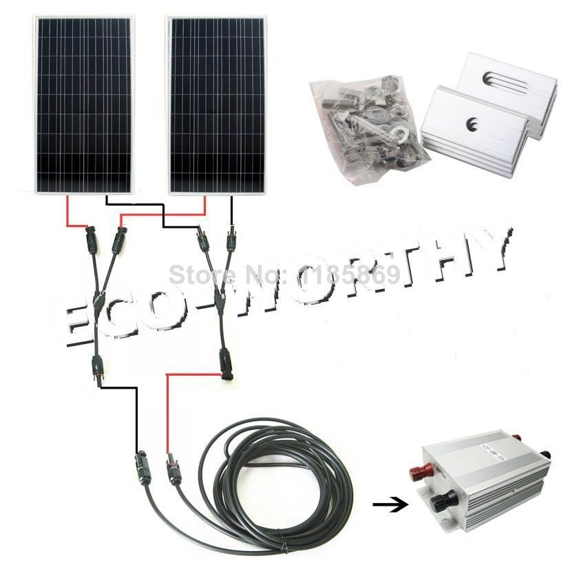 COMPLETE KIT 300 W 2x150w Photovoltaic PV mono Solar Panel for 12V RV Boat 300w solar