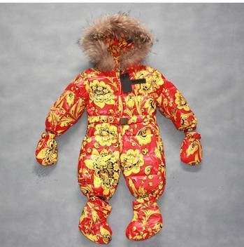 2015 new arrival Russia style winter thermal fancy baby one piece romper down coat down romper toddlers clothing(China (Mainland))