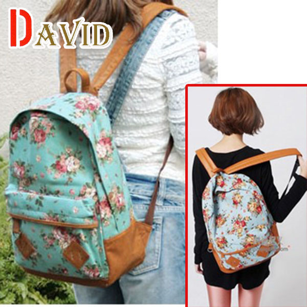 2014 new arrival sale Korean garden style canvas backpack casual stylish laptop bags  printing backpack wholesale Y2X19<br><br>Aliexpress